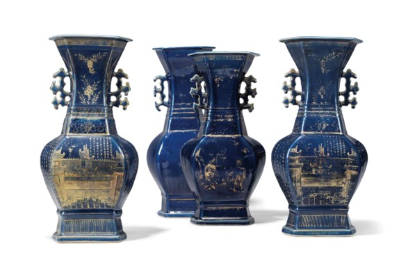 FOUR CHINESE GILT-DECORATED BL