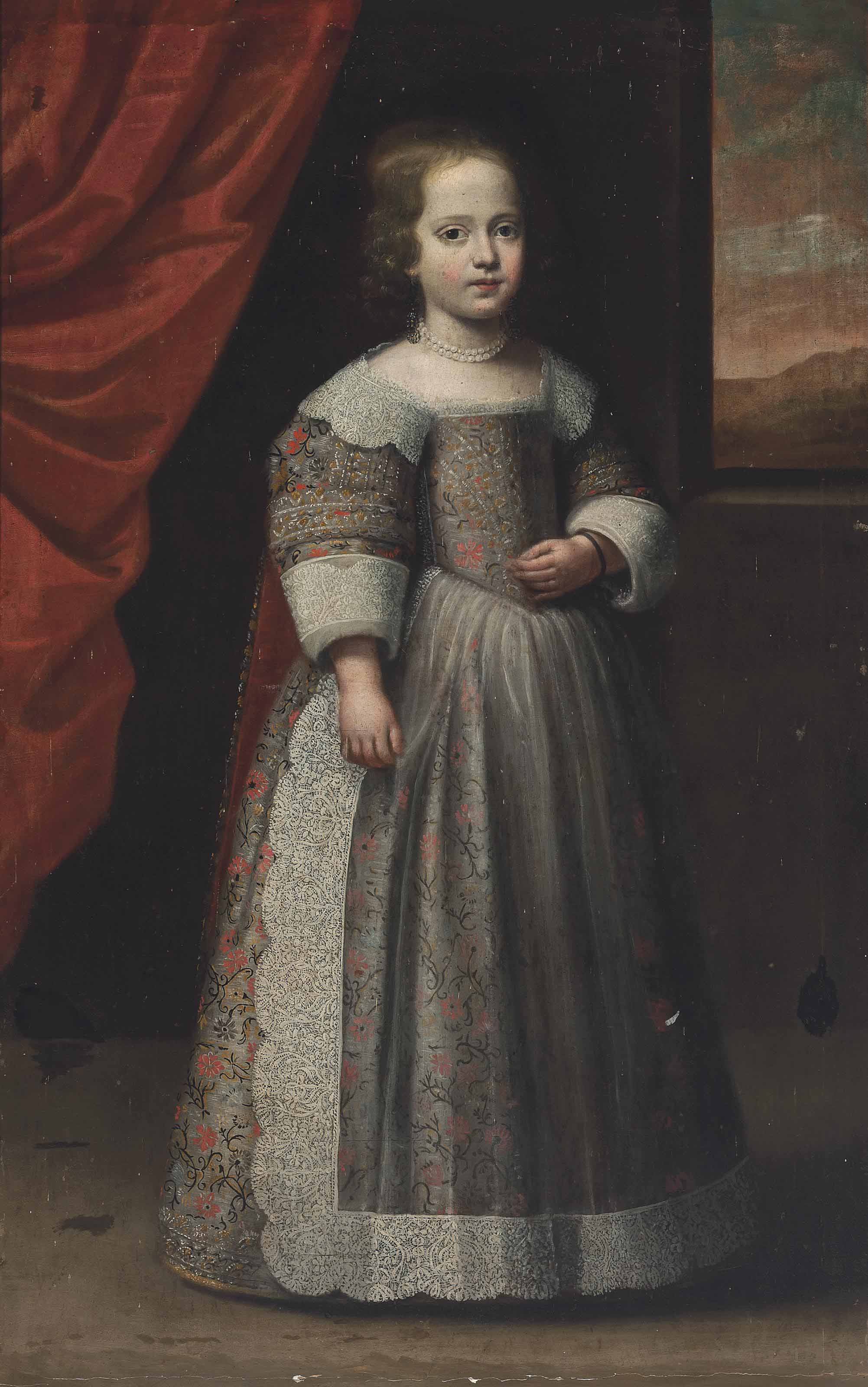 Portrait of a girl, traditionally identified as a member of the Savoy family, standing full-length, in an oyster embroidered dress