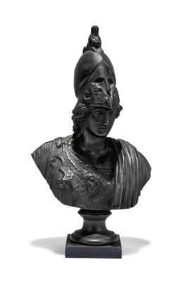 A FRENCH BRONZE BUST OF MINERV