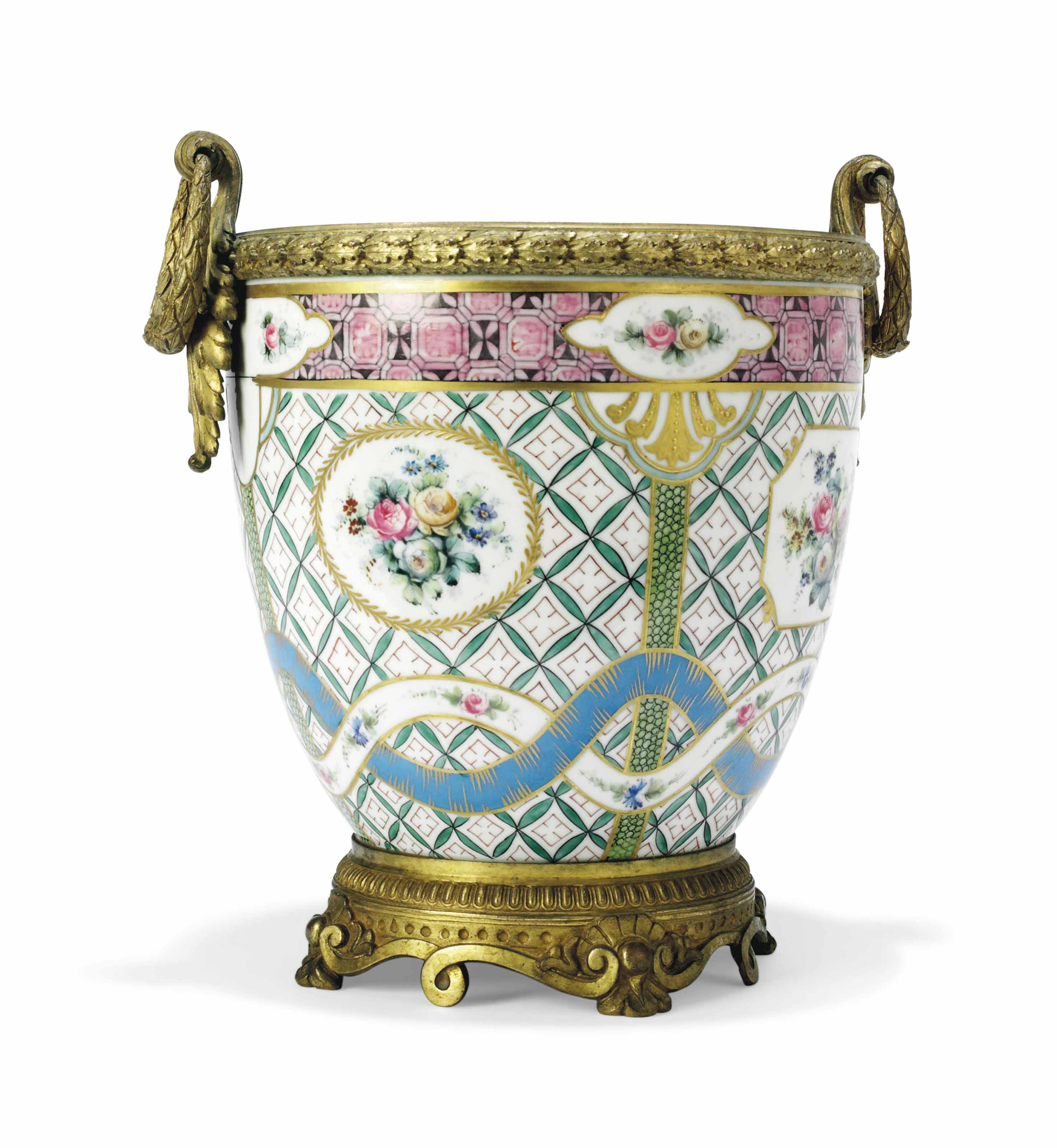 A CONTINENTAL GILT-METAL-MOUNTED SEVRES-STYLE VASE