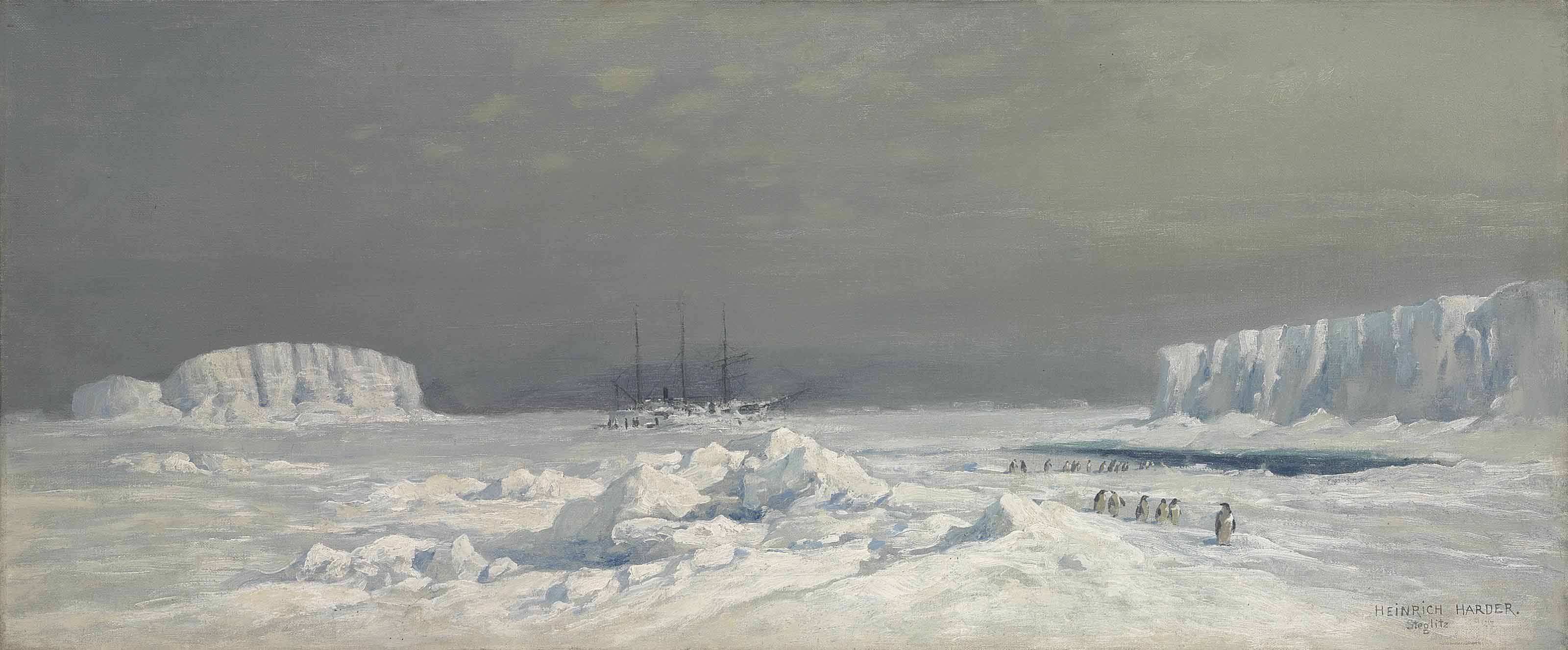 A ship, probably the Gauss, trapped in pack-ice in the Antarctic