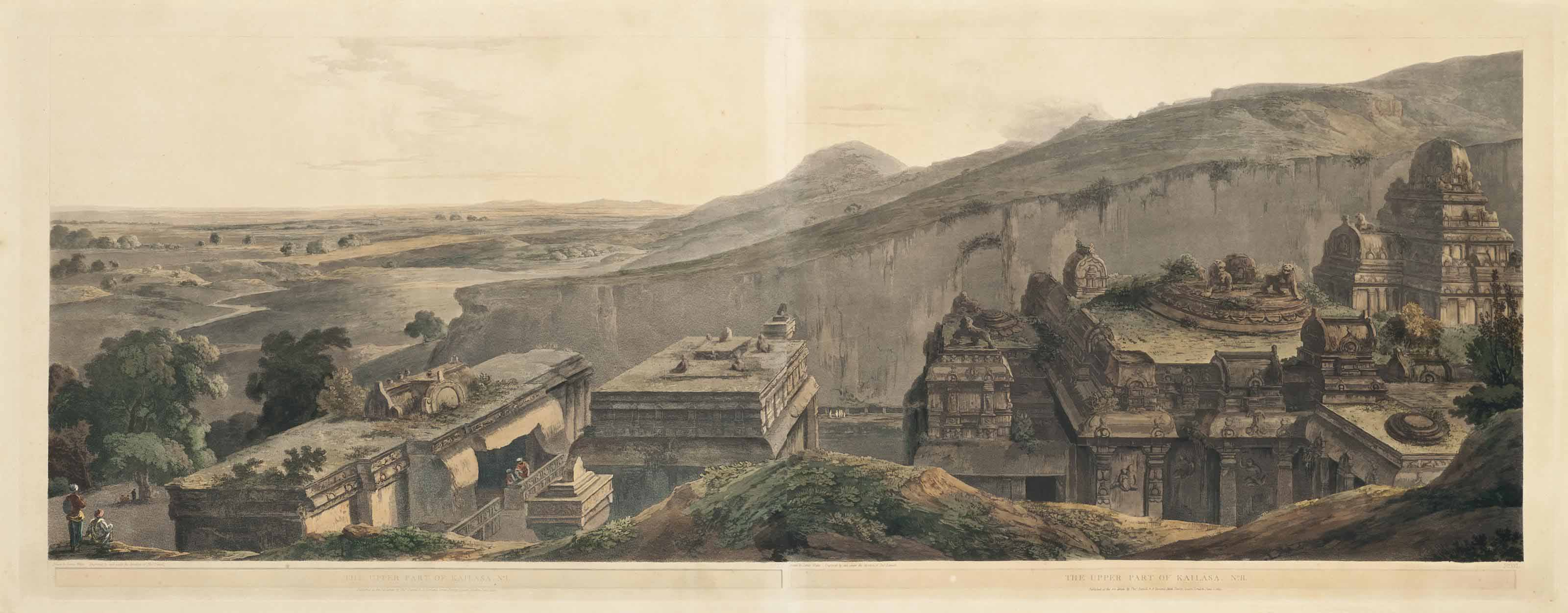 The Mountain of Ellora, 1st, 2nd and 3rd Views; and The Upper Part of Kailâsa I and II (Abbey Travel, 420, pls 102, 103, 104, 114, 115)