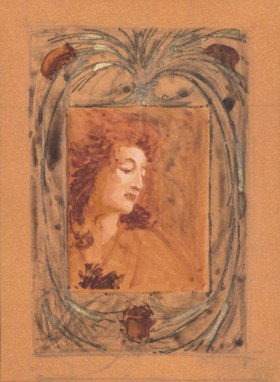 RENE LALIQUE, ATTRIBUTED TO  A DESIGN FOR A FRAME AND PORTRA