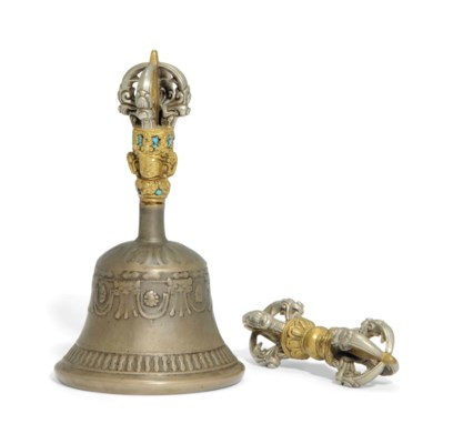 A BRONZE BELL AND A VAJRA