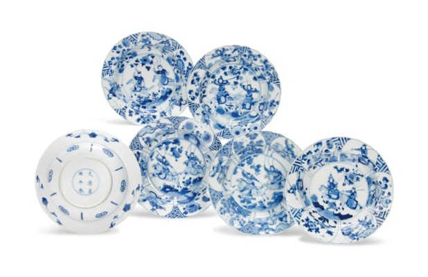 SIX BLUE AND WHITE 'EQUESTRIAN