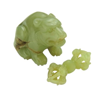 TWO SMALL YELLOW JADE CARVINGS