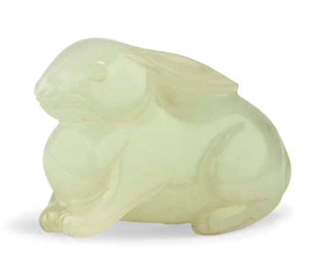 A WHITE JADE 'RABBIT' CARVING