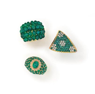 THREE EMERALD AND DIAMOND RING