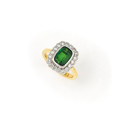A TOURMALINE AND DIAMOND CLUST