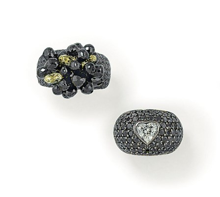 TWO DIAMOND AND COLOURED DIAMO