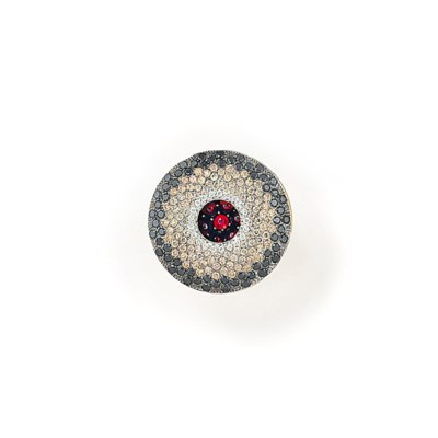A GARNET, DIAMOND AND COLOURED