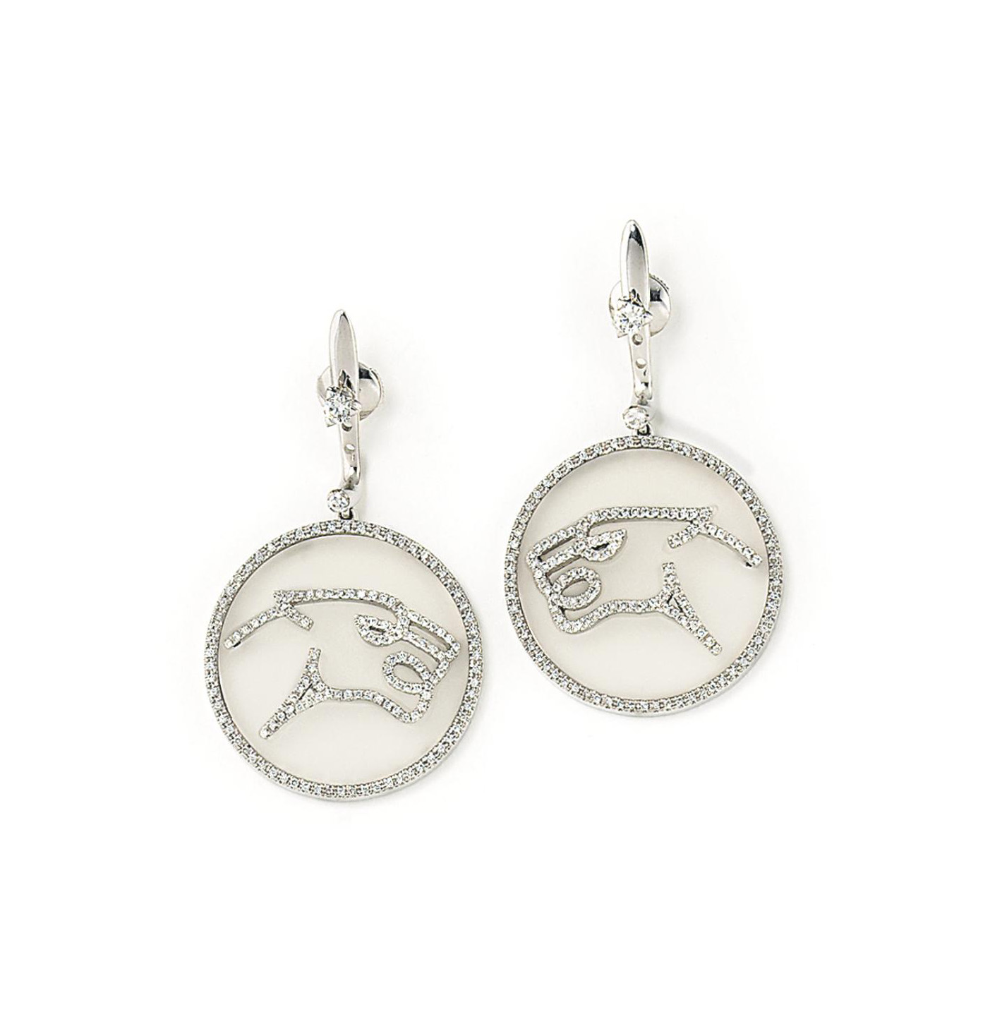 A PAIR OF ROCK CRYSTAL AND DIAMOND 'JAGUAR' EARRINGS, BY ENIGMA, AND A PAIR OF DIAMOND-SET EARRINGS