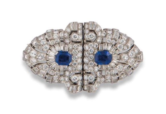 AN ART DECO SAPPHIRE AND DIAMO