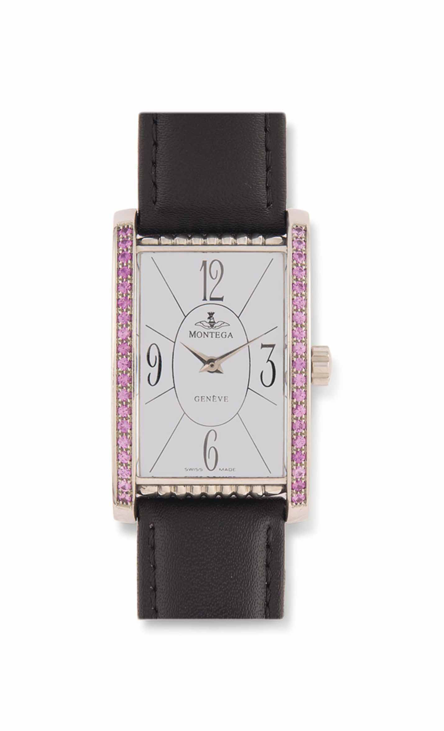 TWO MOTHER-OF-PEARL AND PINK SAPPHIRE WRISTWATCHES, BY MONTEGA