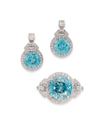 A SMALL GROUP OF BLUE ZIRCON A