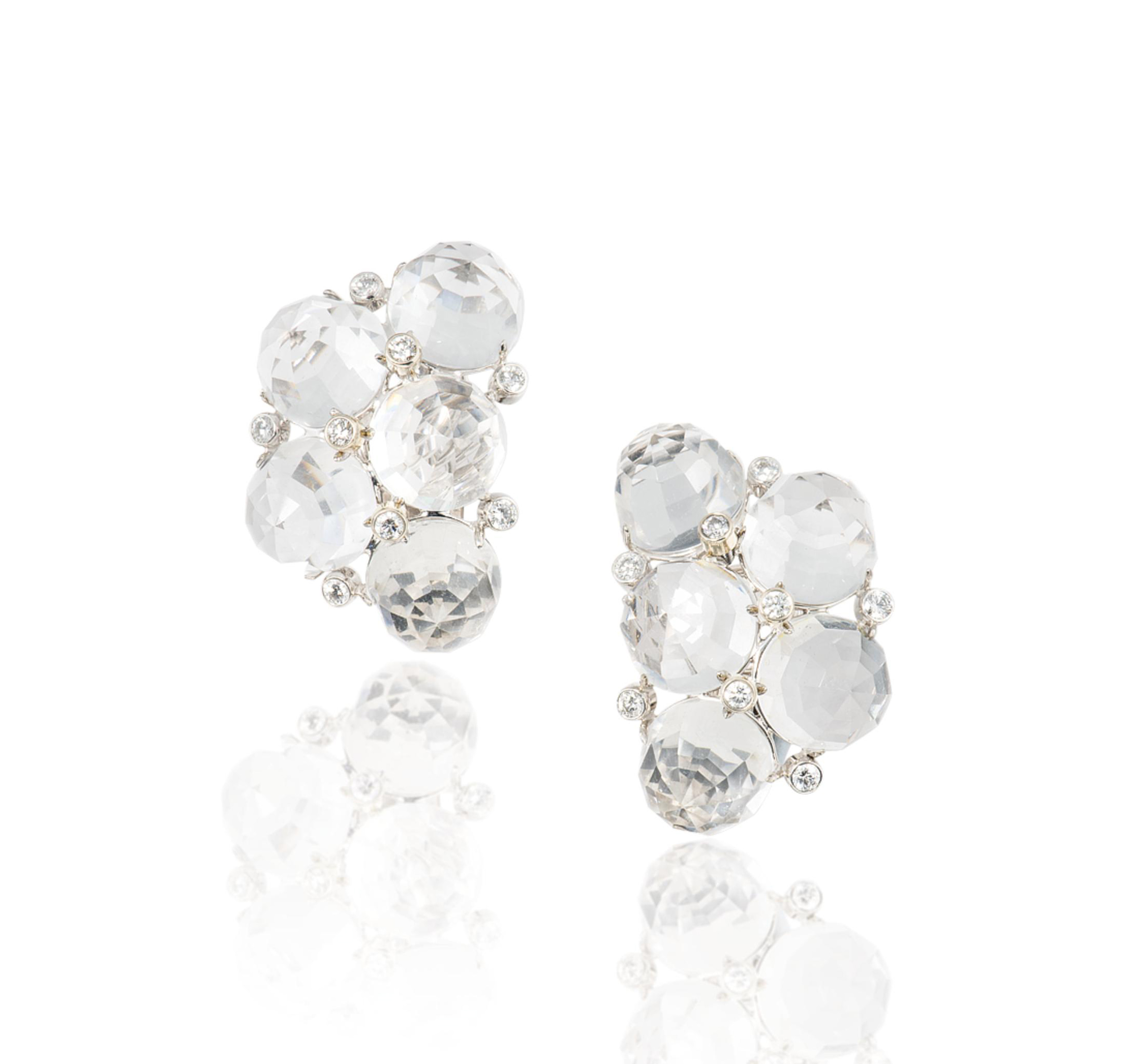 A PAIR OF ROCK CRYSTAL AND DIAMOND EAR CLIPS, BY ALETTO BROTHERS