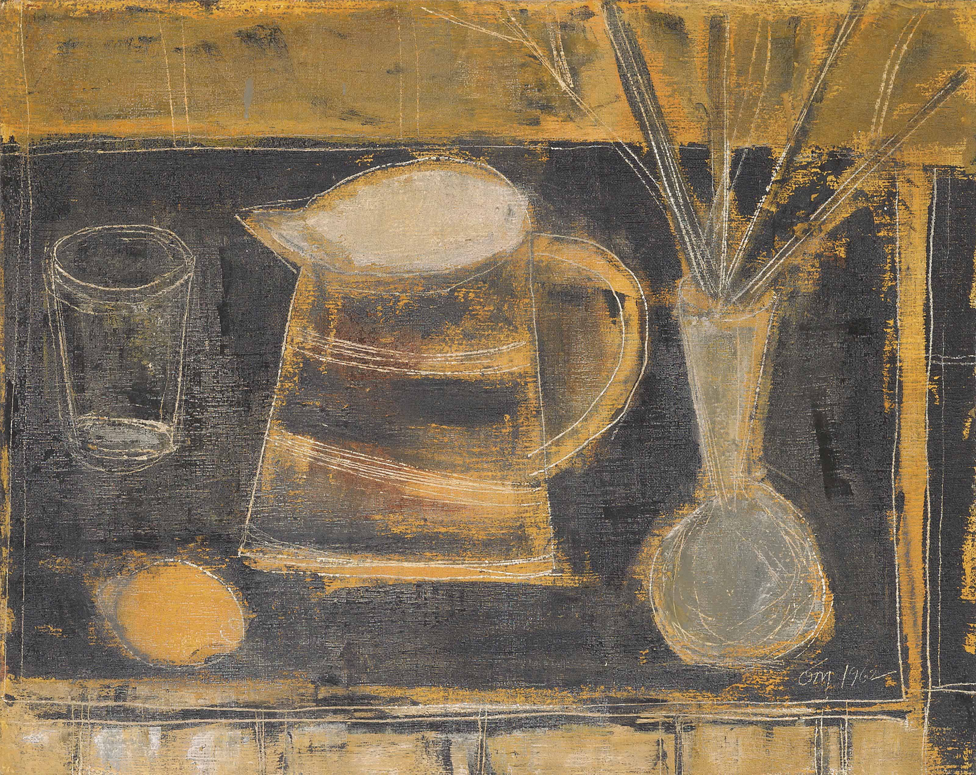 Still-life with vase and lemon