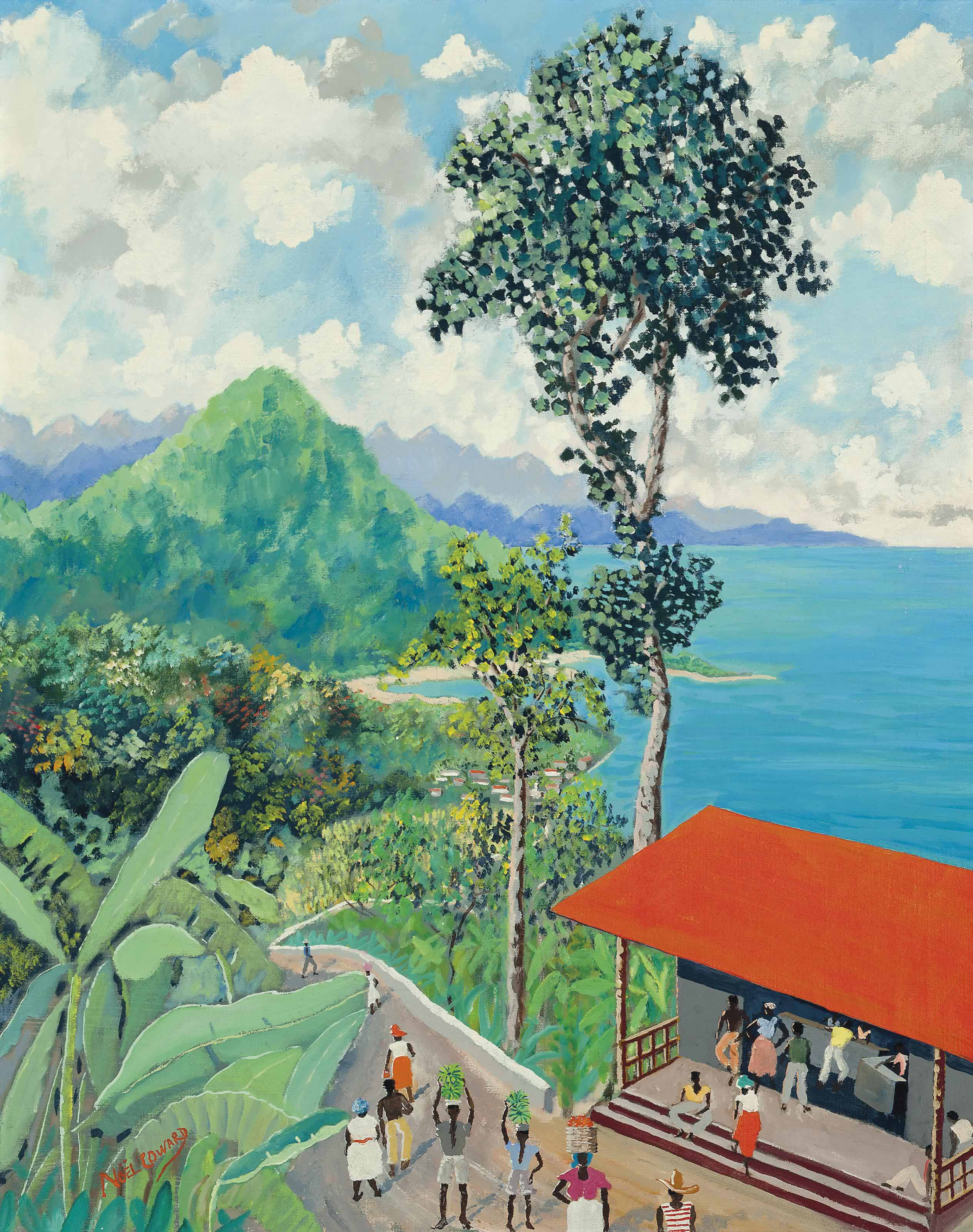 Jamaican Coastline with Red Roof Shack