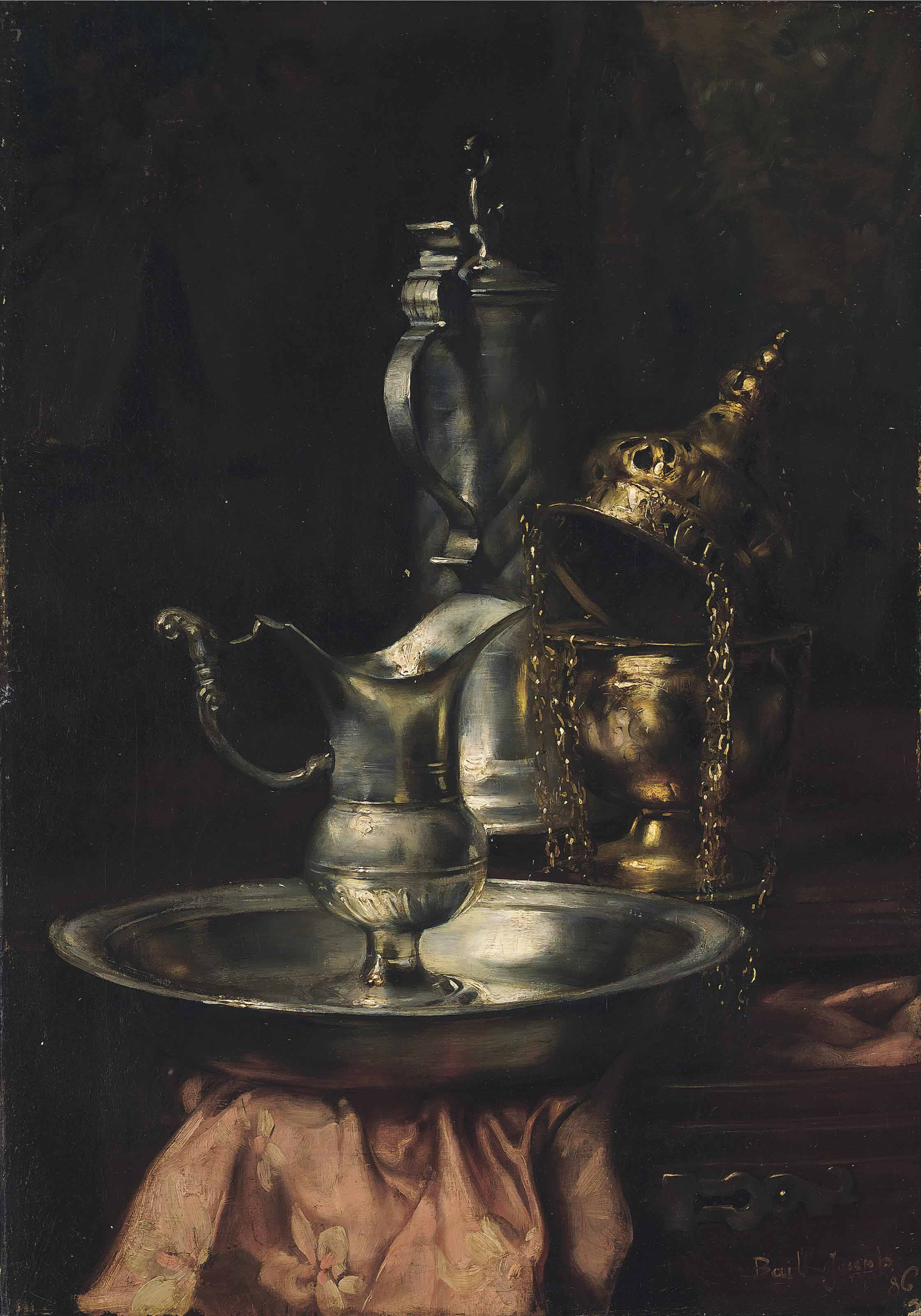 A silver jug and bowl on a wooden ledge