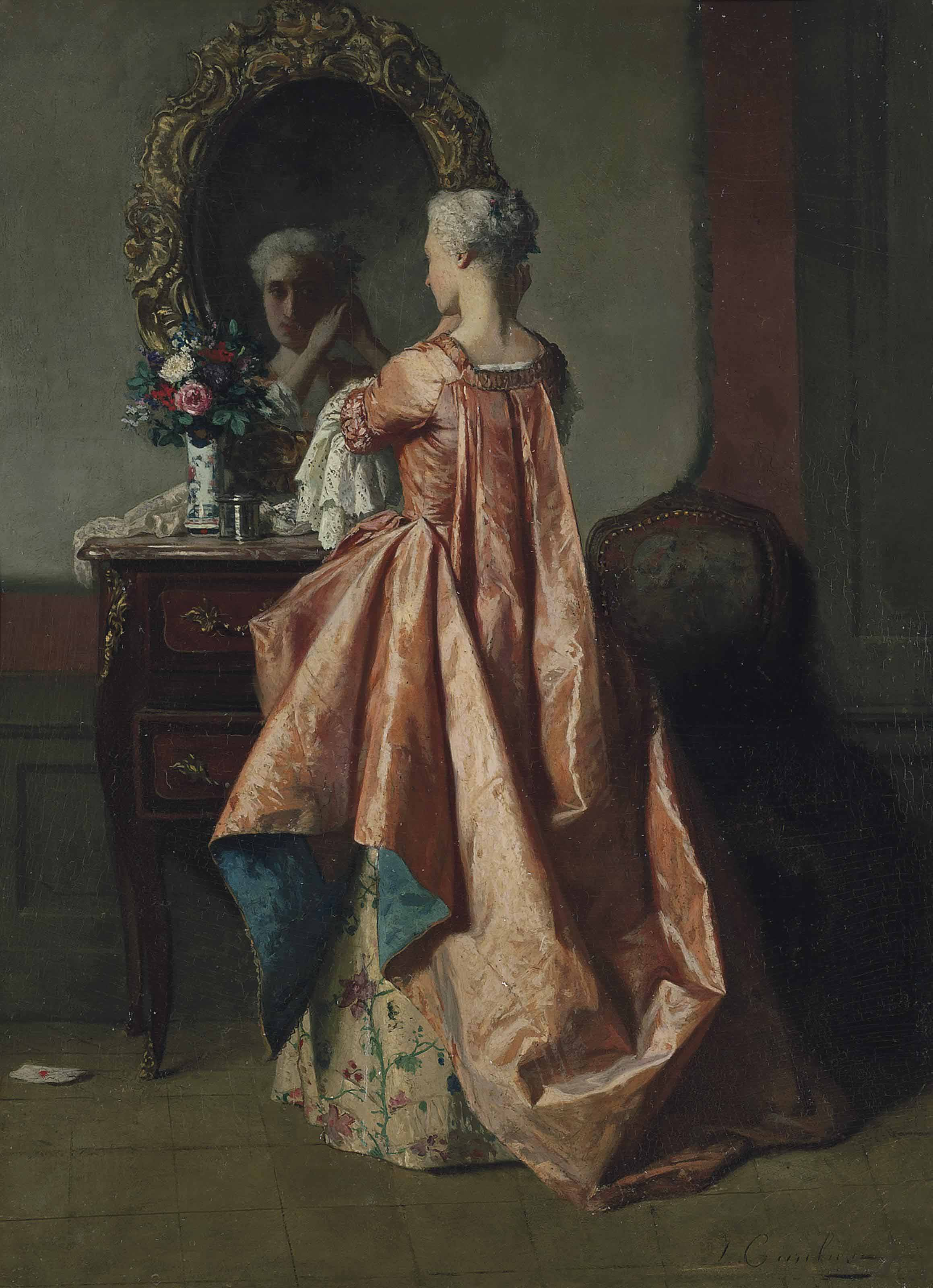 A lady at her dressing table