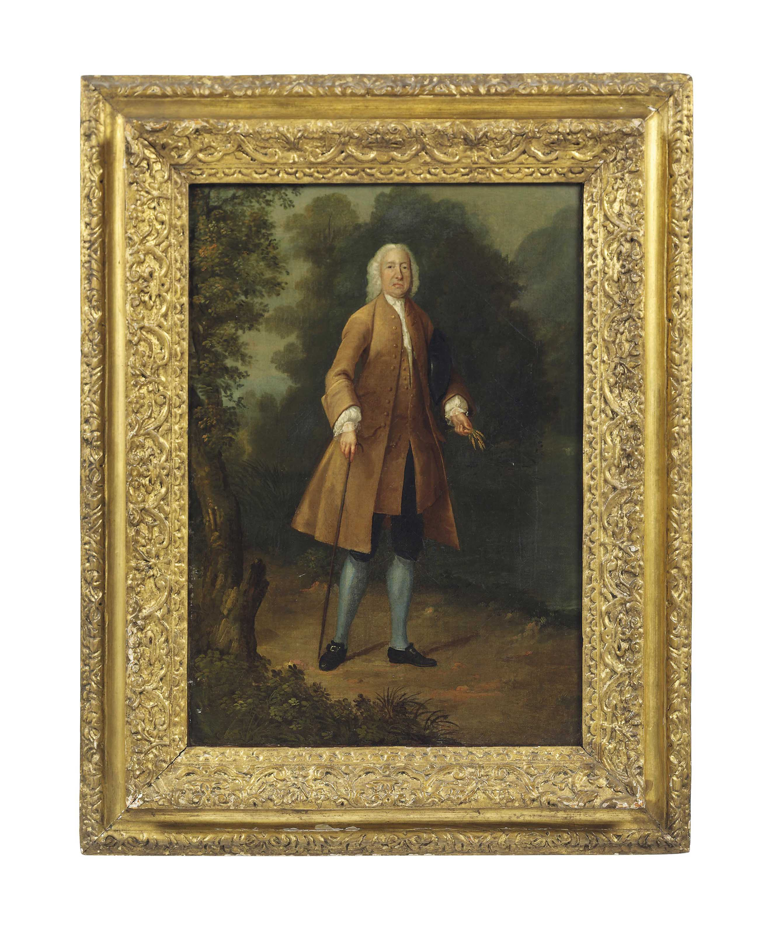 Portrait of a gentleman, full-length, in a brown coat and blue breeches, with a walking stick in his right hand and holding ears of corn in his left, in a landscape