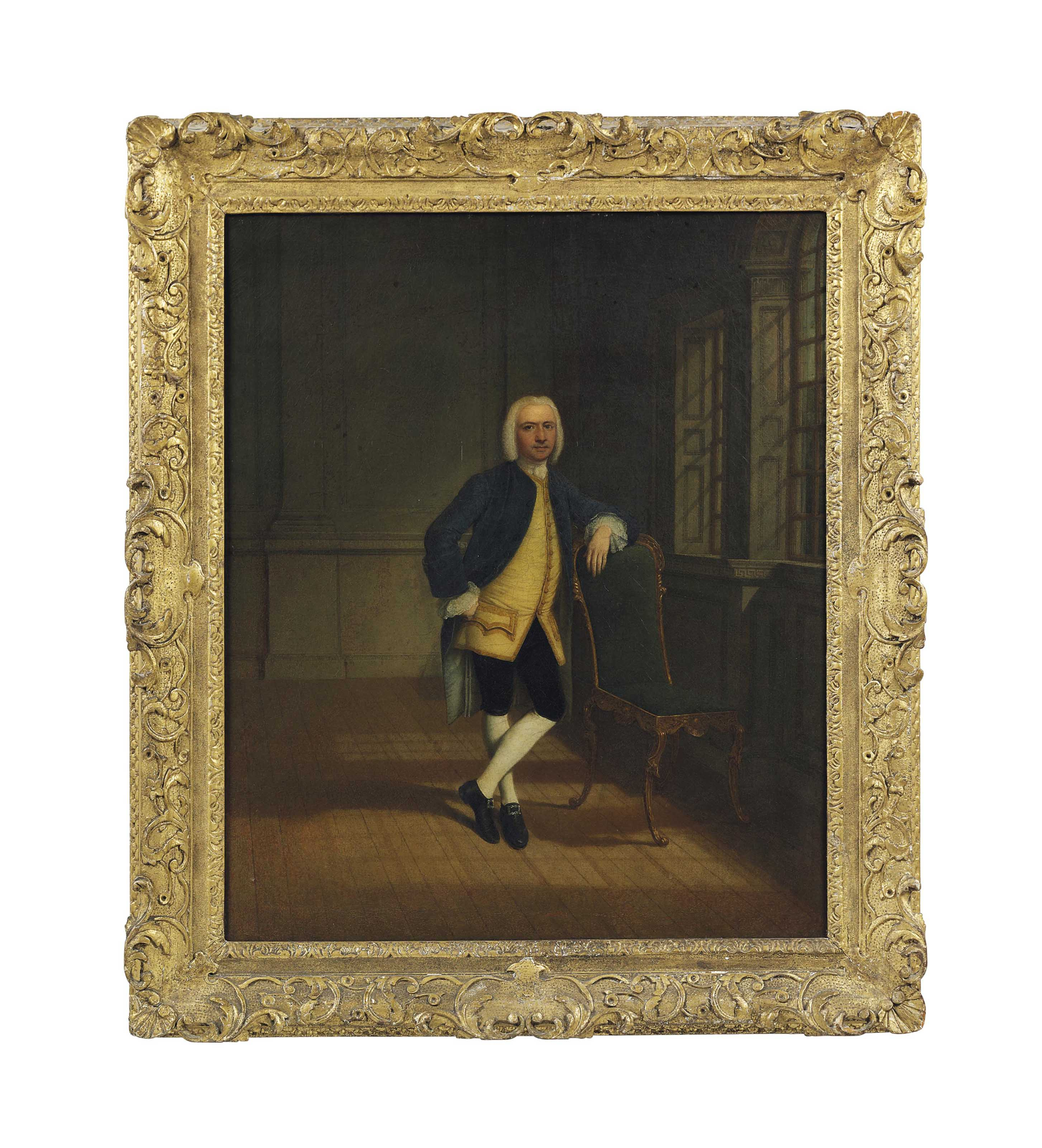 Portrait of a gentleman, small full-length, wearing a blue coat, in an interior
