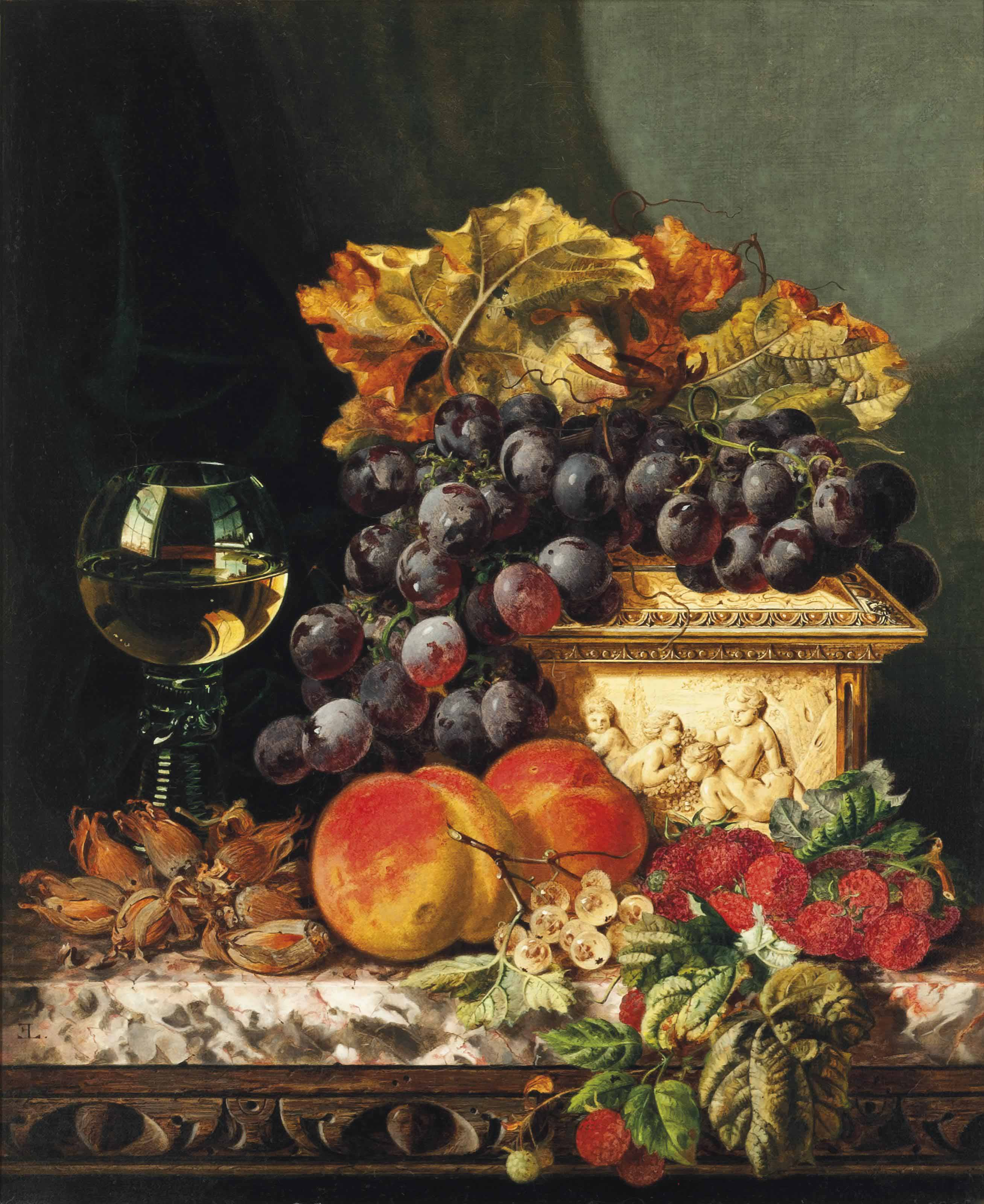 Red grapes, raspberries, peaches, whitecurrants and hazelnuts, with an ivory casket and roemer to the side, on a marble ledge
