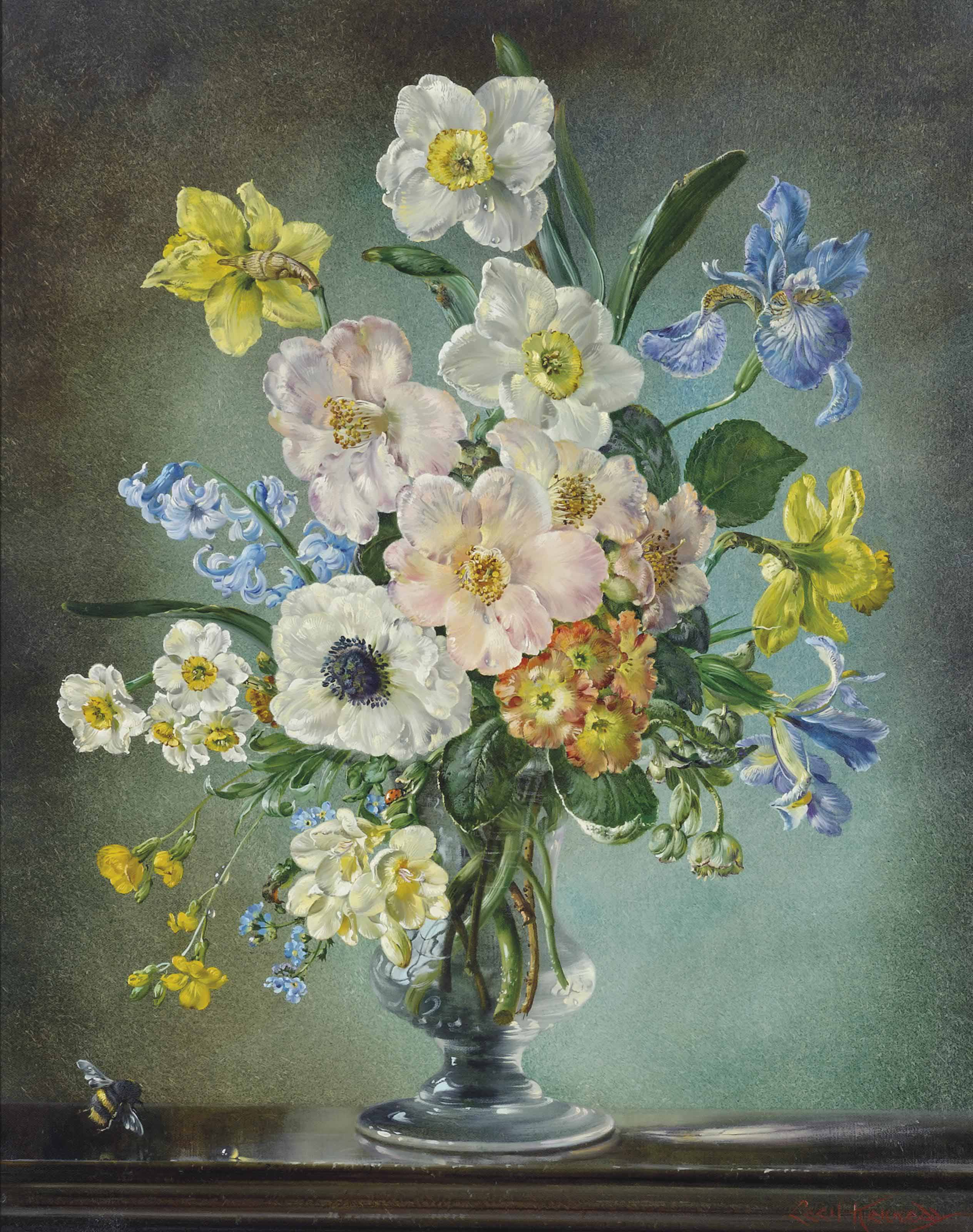 Spring: daffodils, camellias, Spanish bluebells, anemones, Siberian iris, Dutch bulbous iris, polyanthus primulas, hellebores, freesias, forget-me-nots, broom and cowslips, in a glass vase, with a bee