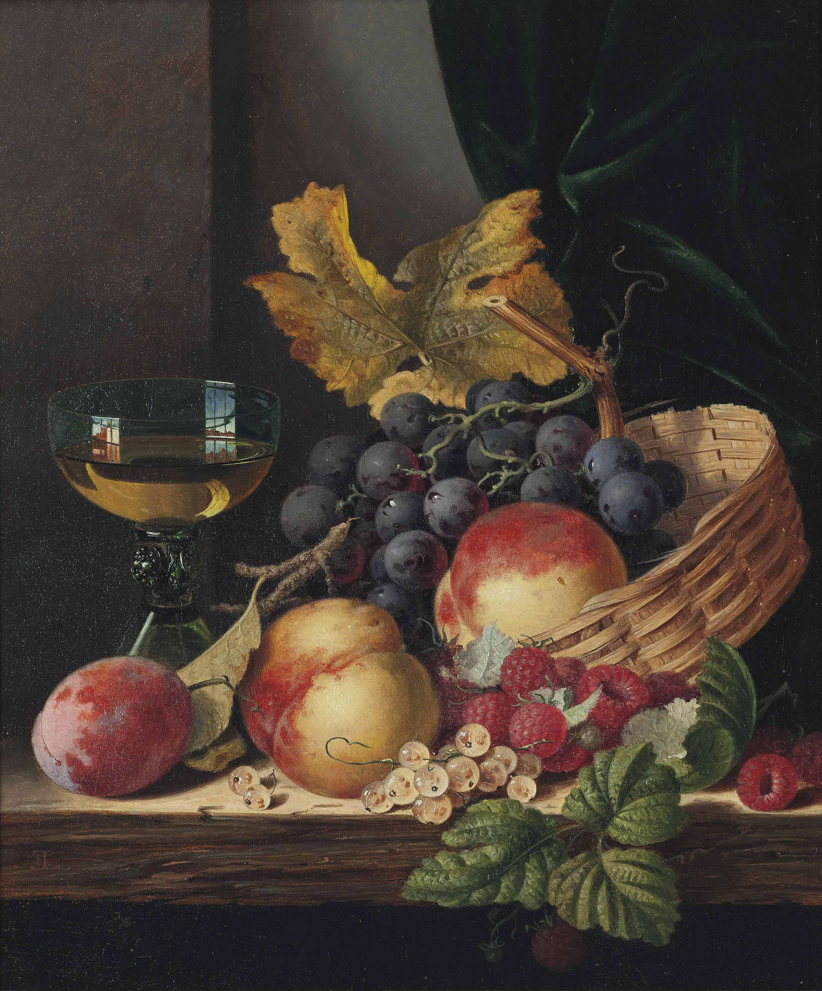 Peaches, plum, grapes, raspberries and white currants on a wooden ledge, with a wine glass