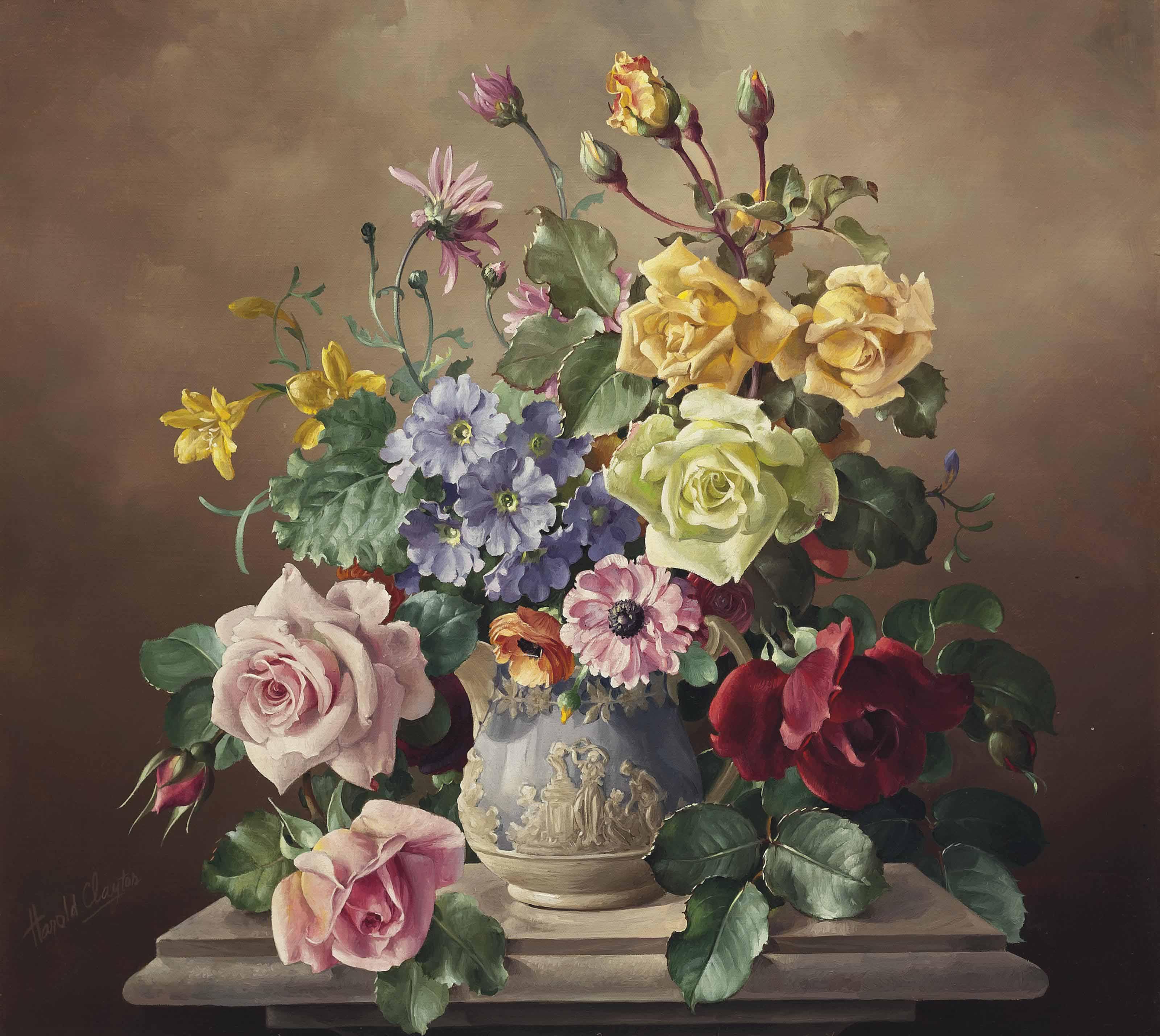 Roses in a sculpted urn