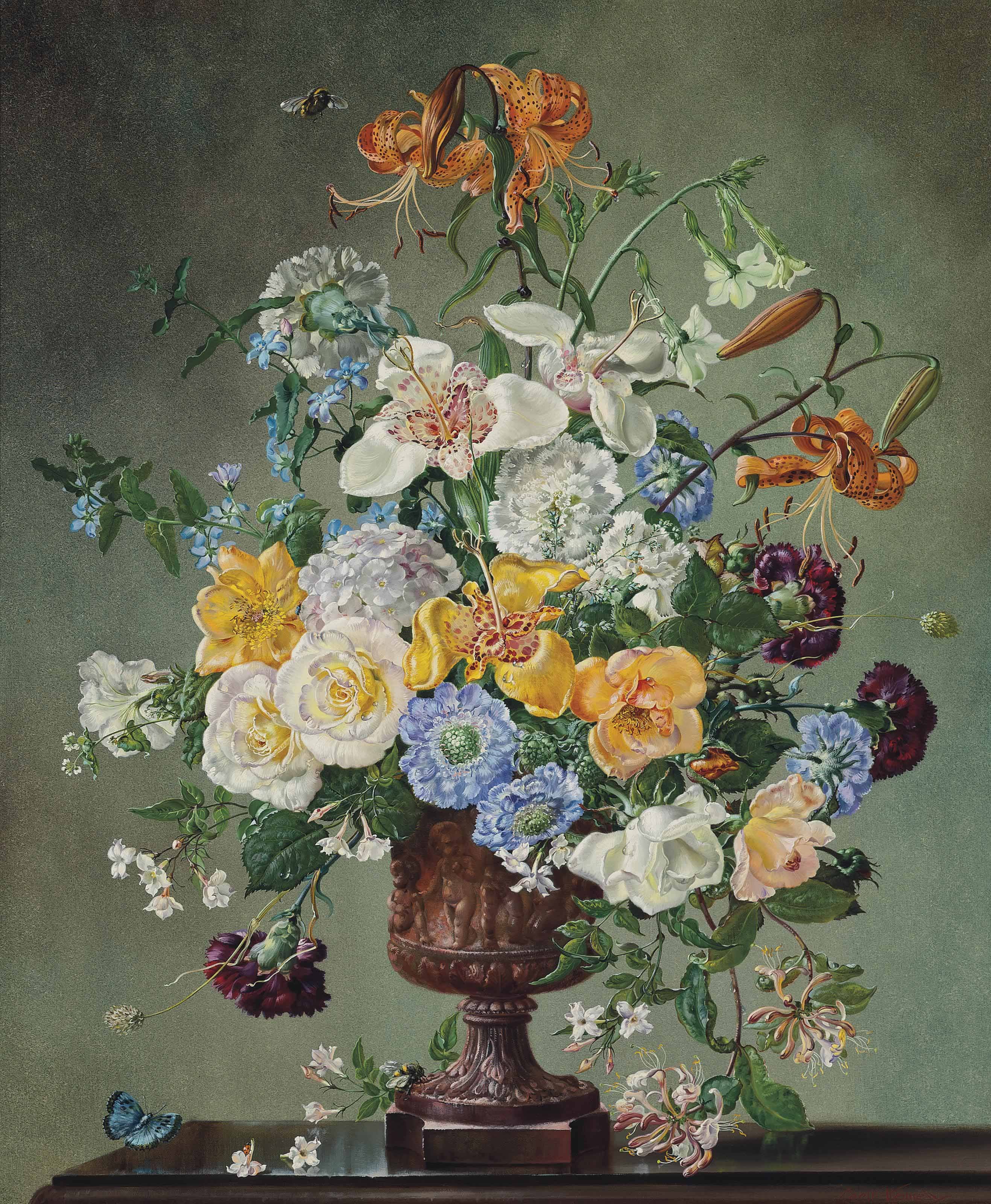 Lilies, roses, carnations, honeysuckle, forget-me-nots and other summer flowers, in an urn