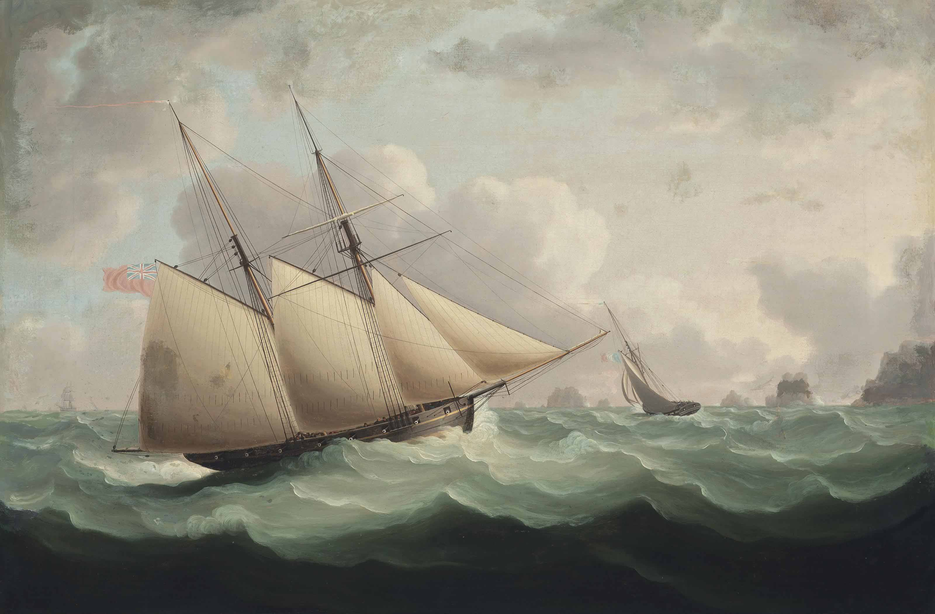 French and English revenue cutters in close-quarters in the Channel