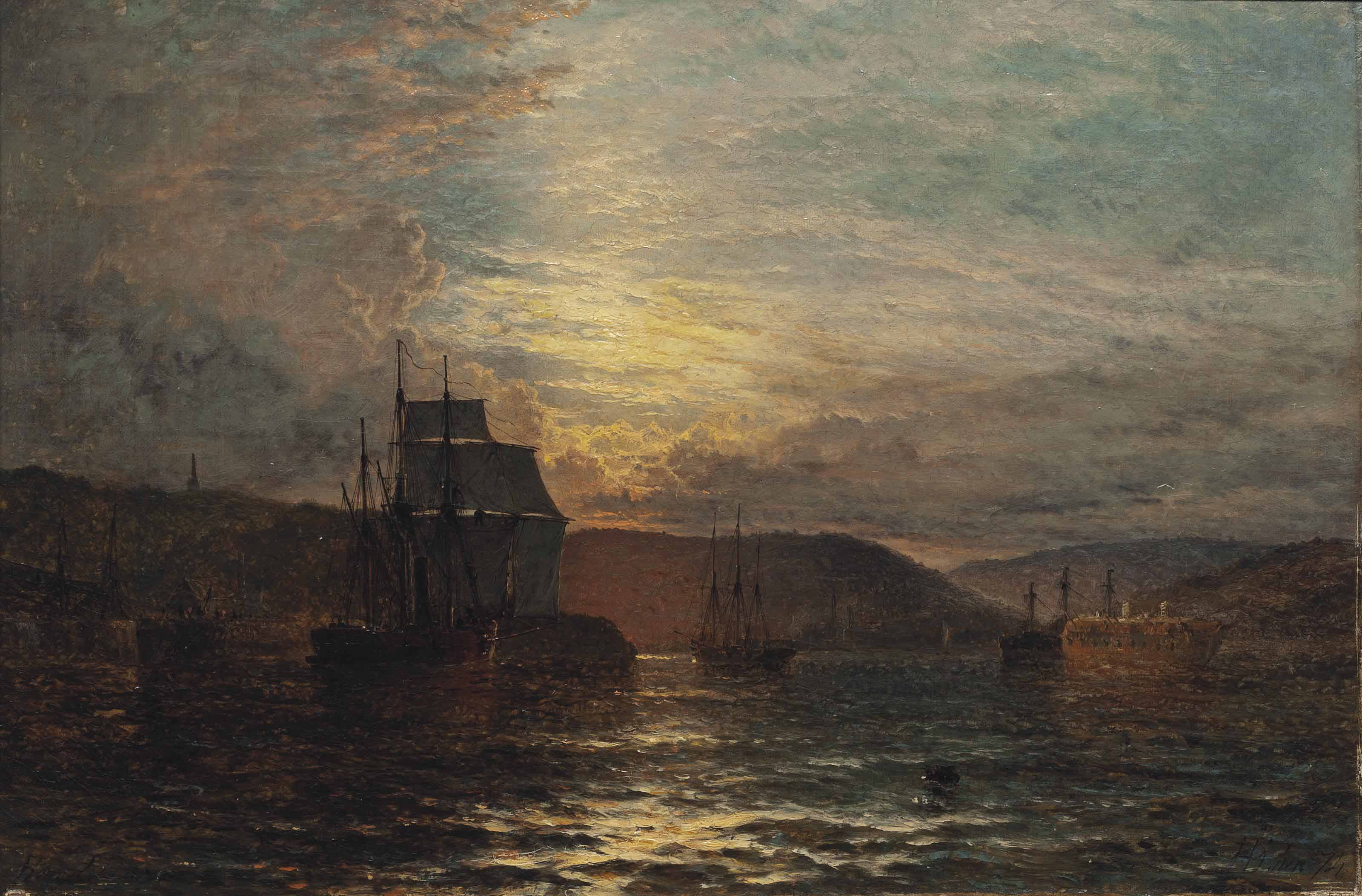 A screw steamer and other vessels moored by a harbour wall, a prison hulk beyond