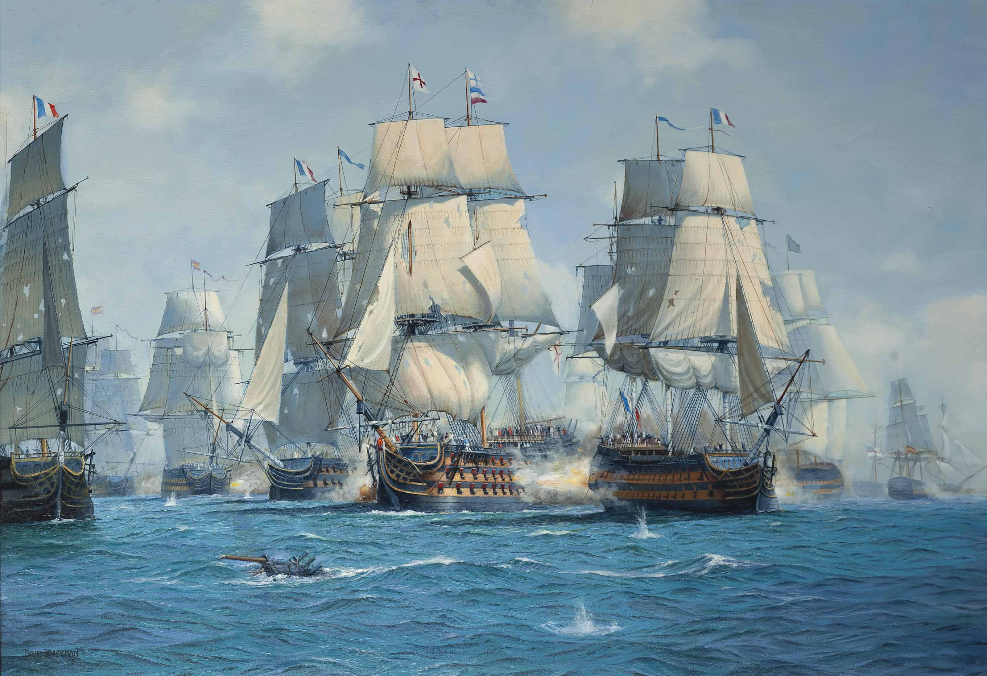 H.M.S. Victory, a bow view, breaking the enemy line at the Battle of Trafalgar, 21 October 1805