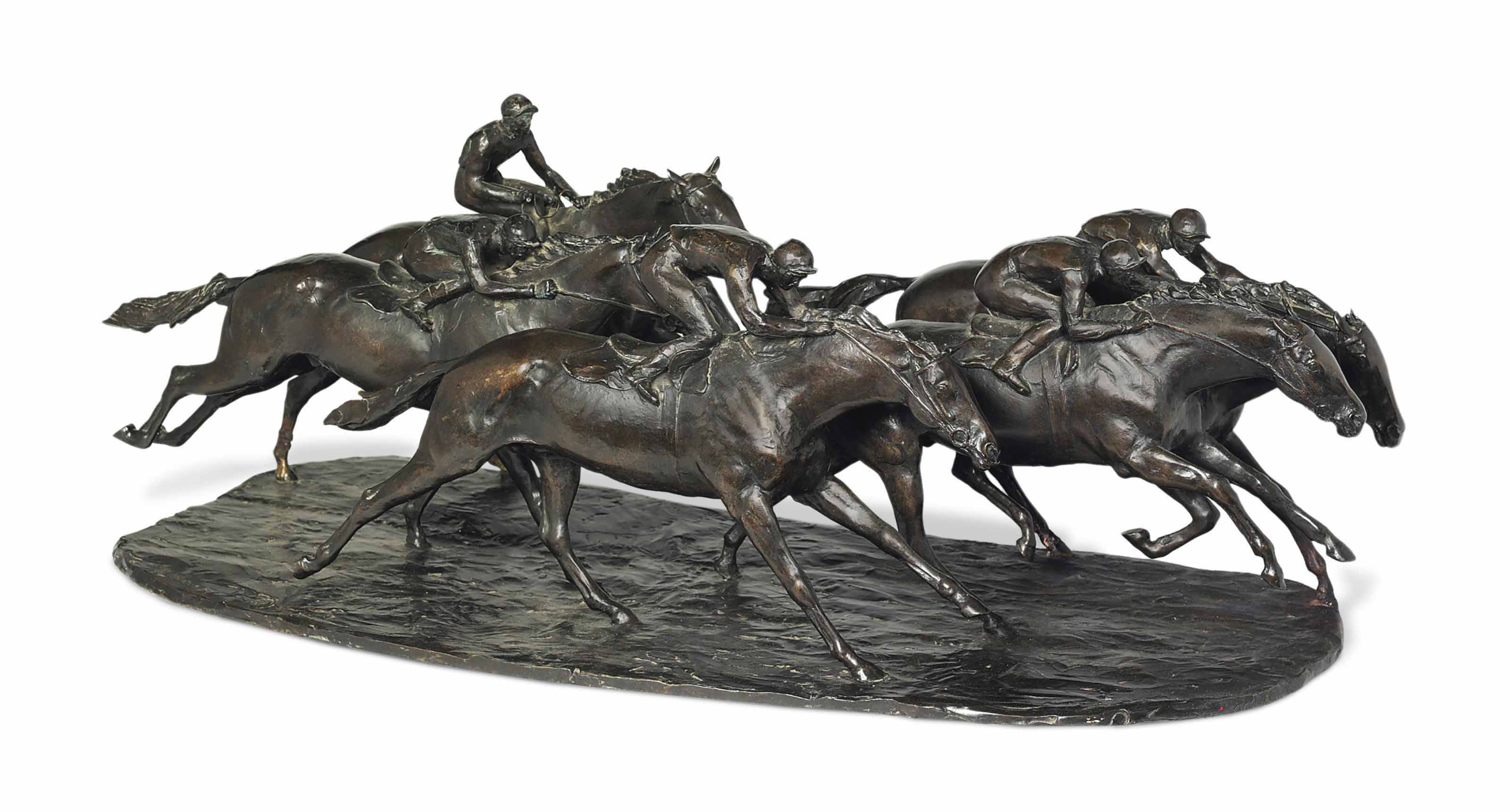 A group of five racehorses