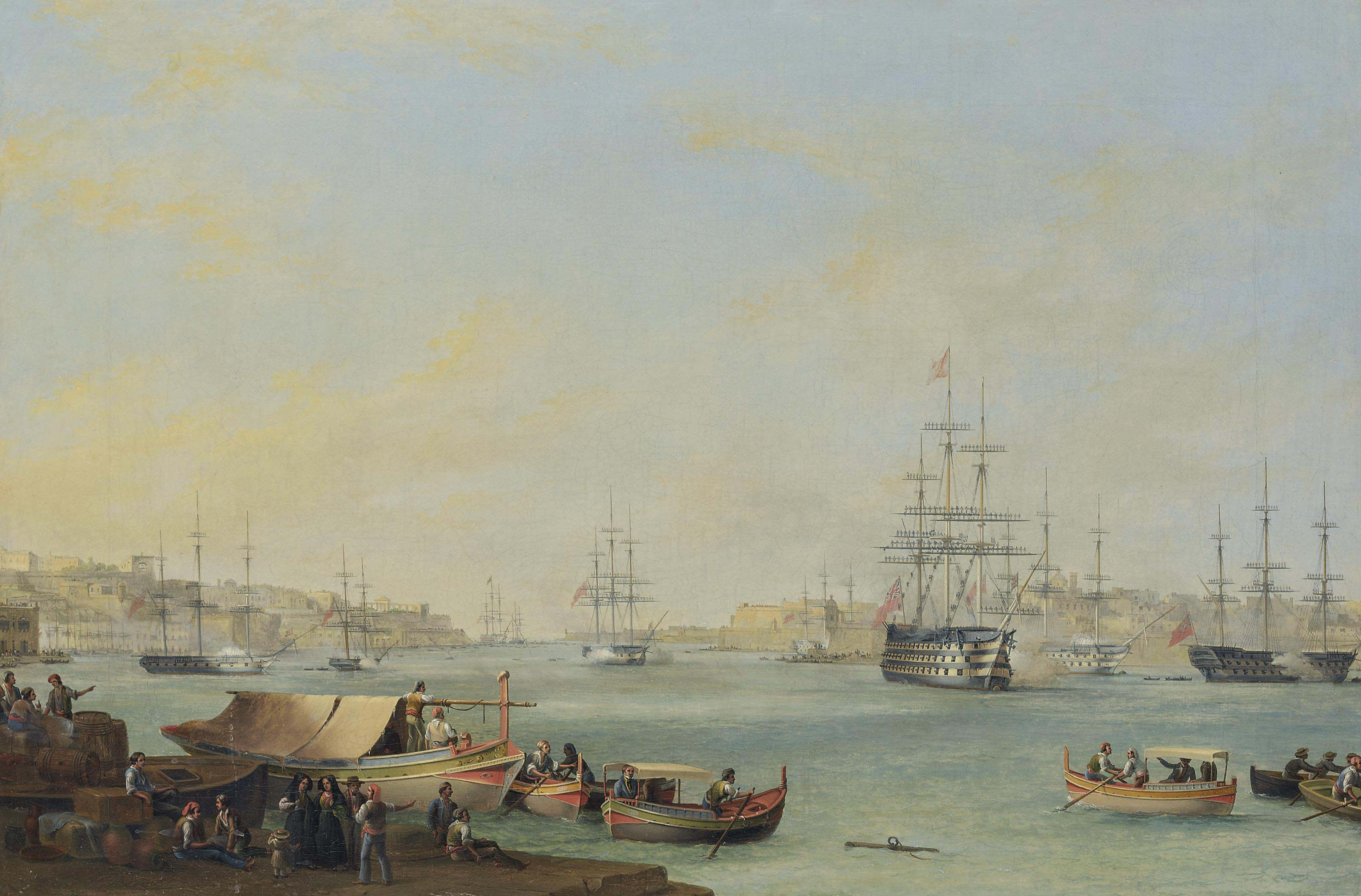 The arrival of the Dowager Queen Adelaide aboard H.M.S. Hastings at the Grand Harbour, Valletta, 30 November 1838