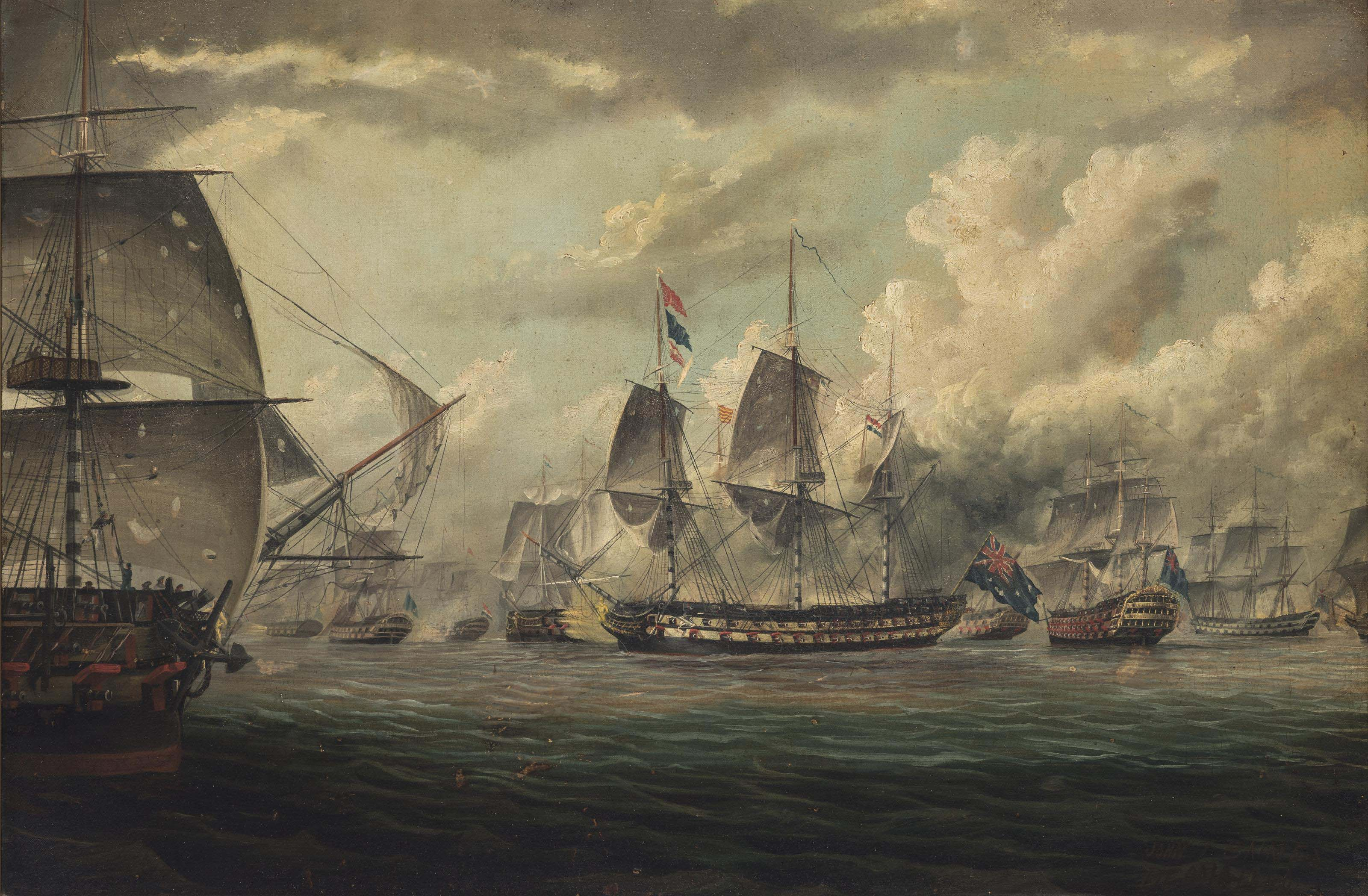 H.M.S. Bellerophon leading the bombardment of the Syrian fortress of Acre on 3 November 1840