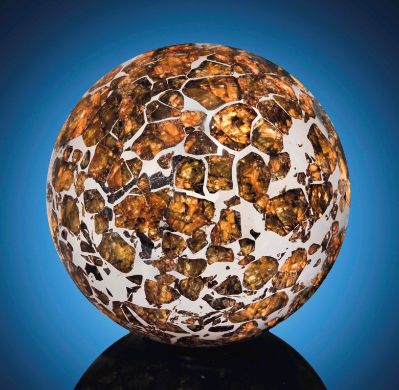Seymchan sphere — an extraterrestrial crystal ball, pallasite — PMG  Magadan District, Russia (62°54' N, 152°26' E). 53 mm (2 in) diameter. Sold for £92,500 on 20 April 2016  at Christie's in London
