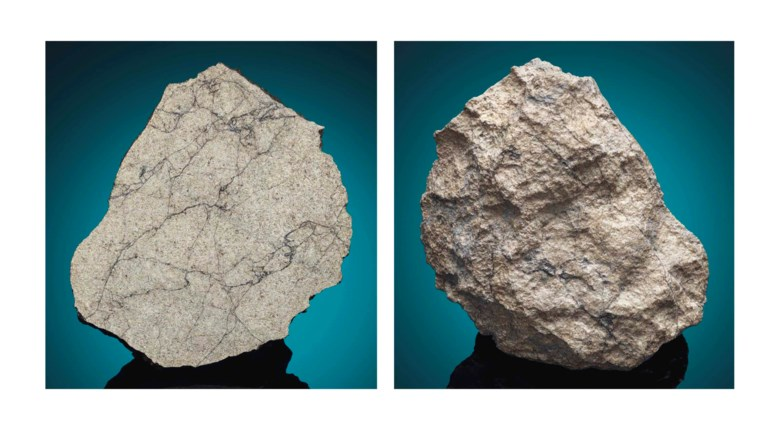 End piece of a lunar meteorite NWA 10178, lunar troctolitic granulite. Sahara Desert, northwest Africa. 117 x 99 x 26 mm (4½ x 3¾ x 1 in). Sold for £68,500 on 20 April 2016  at Christie's in London, South Kensington