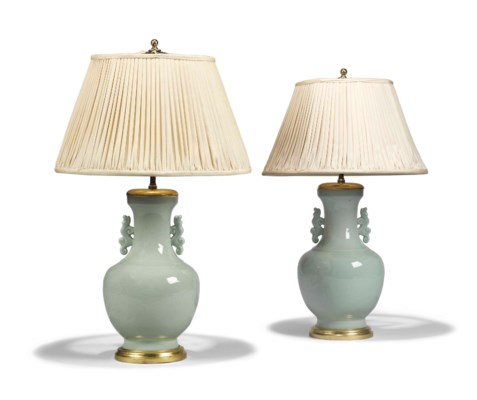 A PAIR OF CELADON TWIN-HANDLED