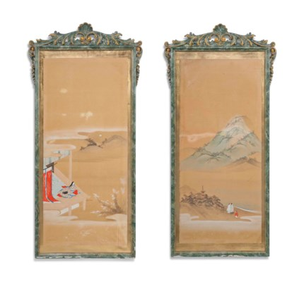A PAIR OF JAPANESE PAINTINGS D