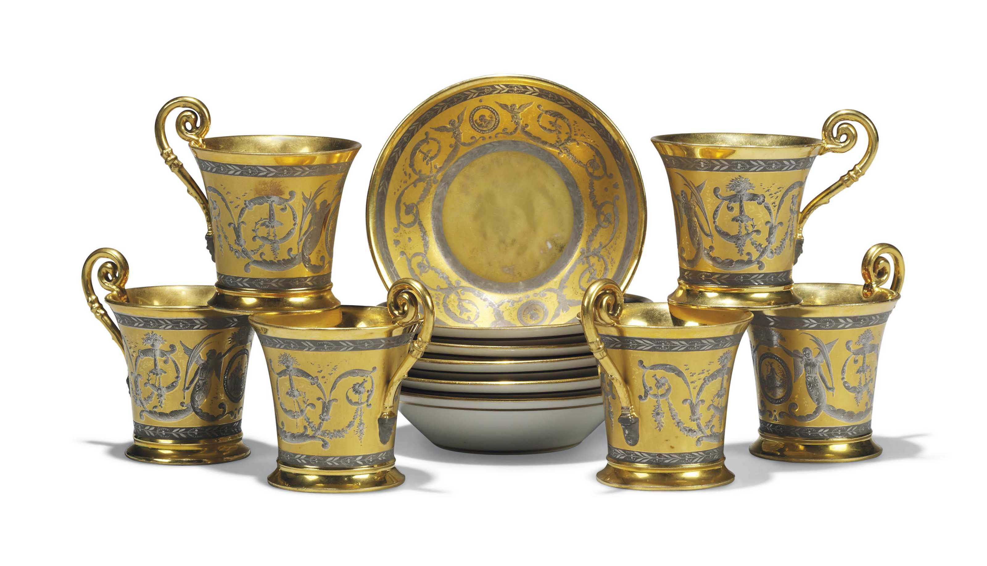 SIX NYMPHENBURG GILT AND PLATINUM CABINET CUPS AND SAUCERS