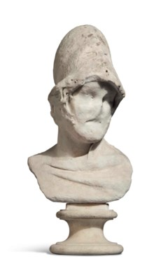 A MARBLE BUST OF AJAX