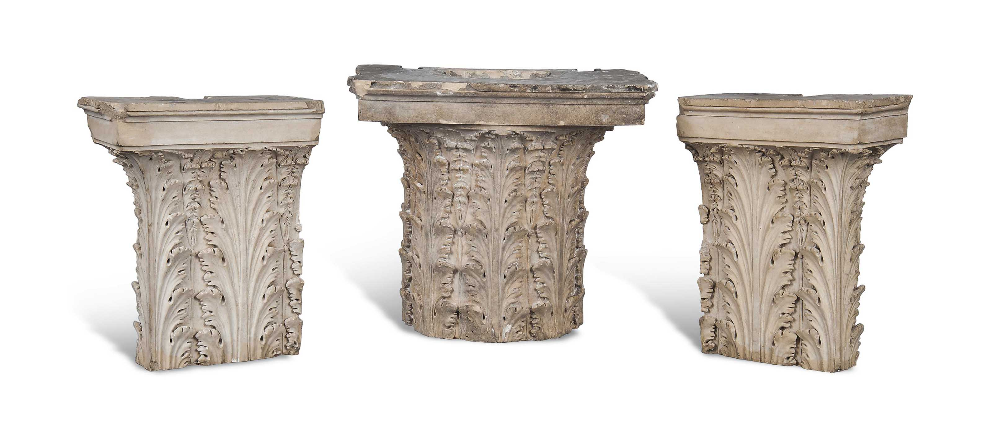 A GROUP OF THREE COADE STONE PILASTER CAPITALS