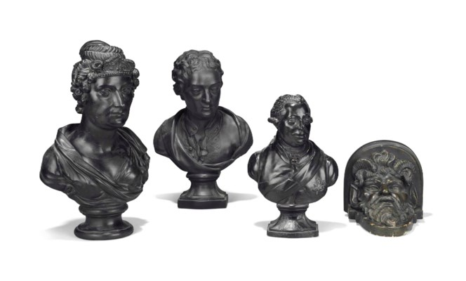 A BRONZED PLASTER BUST OF GEOR