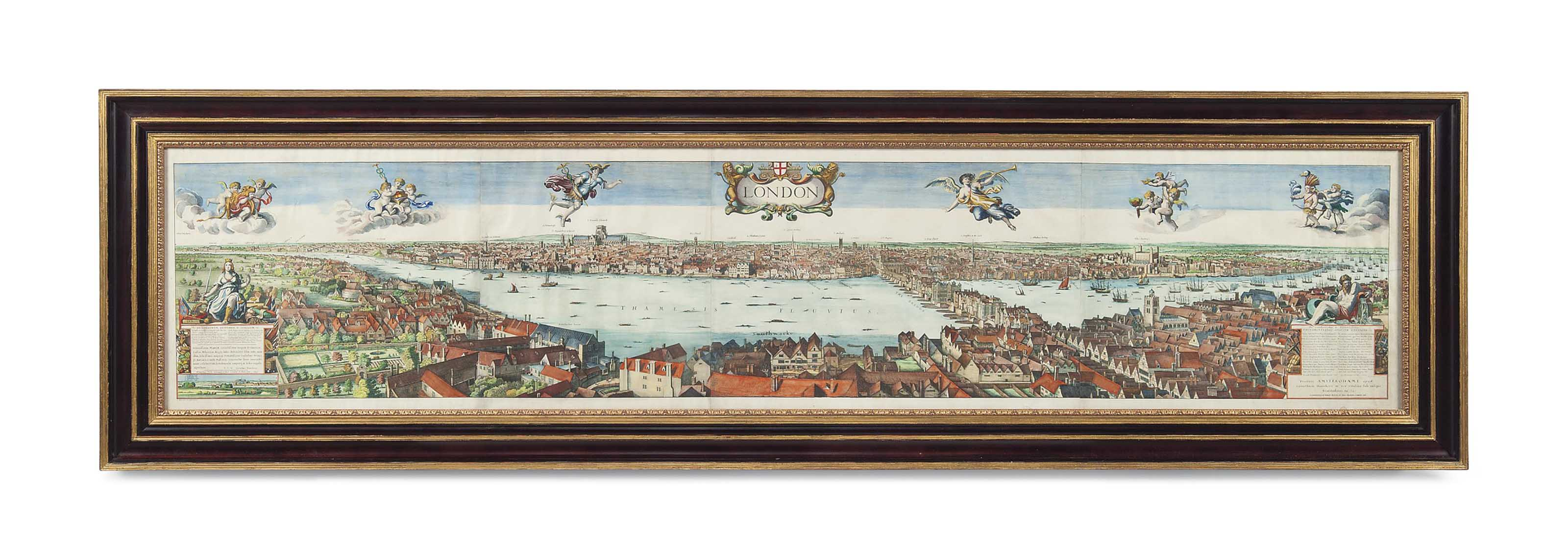 THE LONG VIEW OF LONDON FROM BANKSIDE - HAND-COLOURED LITHOGRAPH