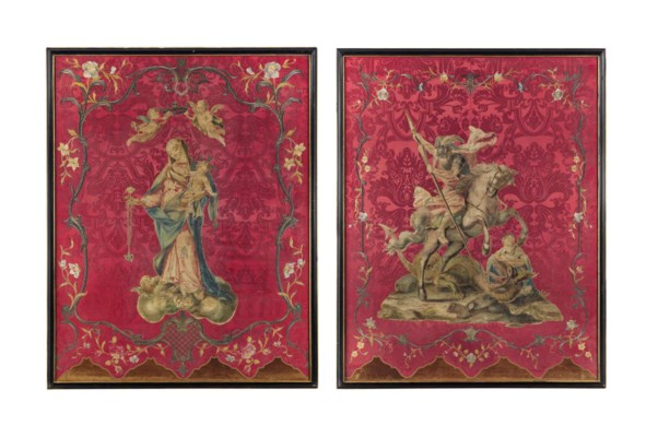 TWO ITALIAN EMBROIDERED SILK P