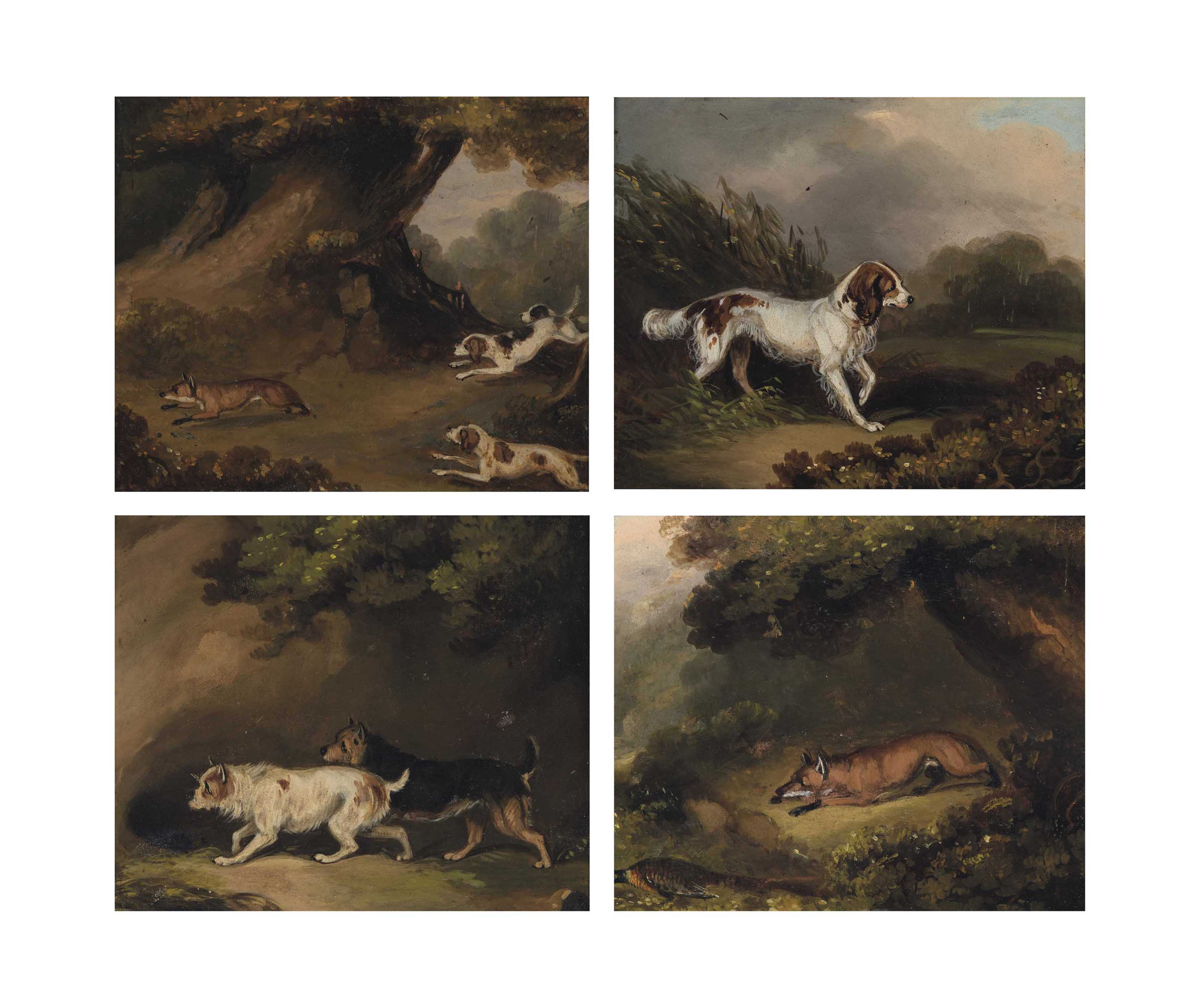 Four sporting scenes: A fox and a pheasant; Hounds chasing a fox; Two terriers on the scent; and A retriever