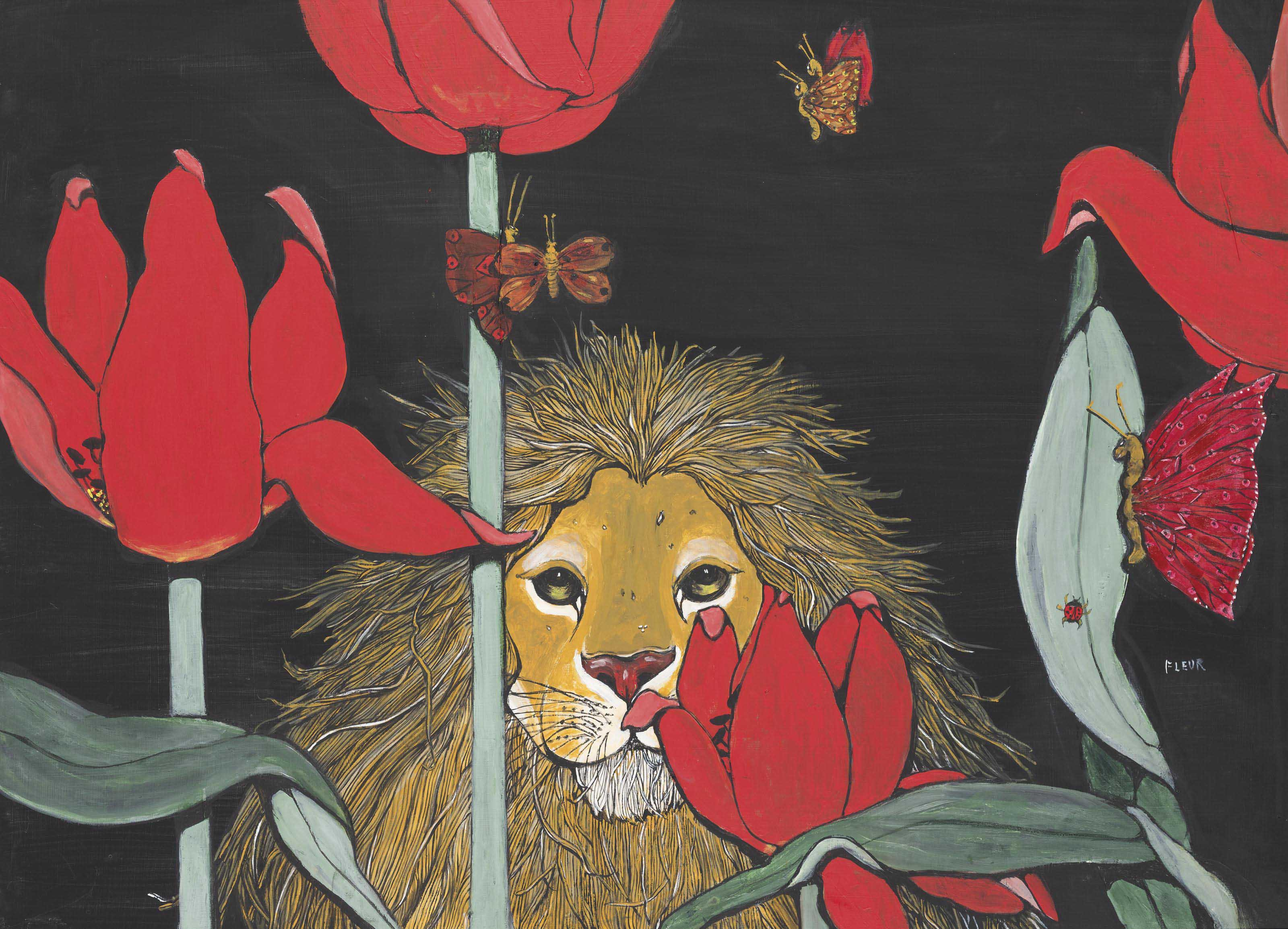 Lion amongst poppies and butterflies