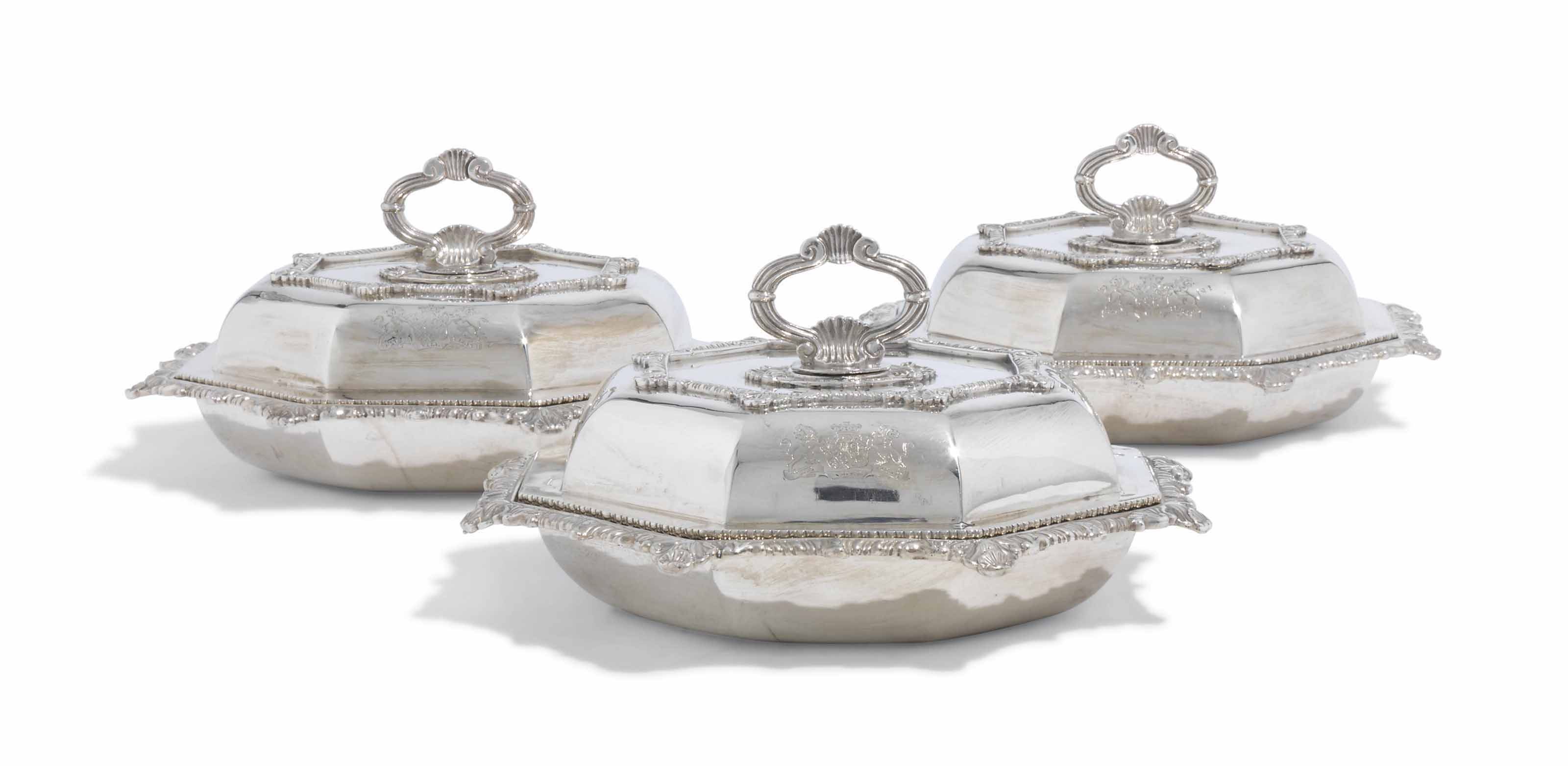 A SET OF THREE GEORGE III SILVER ENTREE-DISHES AND COVERS